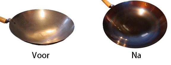 Plaatstalen wok inbranden voorbeelden